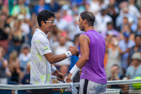 2019 US Open Tennis Tournament- Day Six. Winner Rafael Nadal of Spainis congratulated by Hyeon Chung of Korea in the Men's Singles round three match on Arthur Ashe Stadium during the 2019 US Open Tennis Tournament at the USTA Billie Jean King National Tennis Center on August 31st, 2019 in Flushing, Queens, New York City. (Photo by Tim Clayton/Corbis via Getty Images)