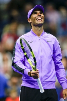 Rafael Nadal of Spain reacts after his win against John Millman of Australia in their Round 1 men's Singles match at the 2019 US Open at the USTA Billie Jean King National Tennis Center in New York on August 27, 2019. (Photo by Kena Betancur / AFP) (Photo credit should read KENA BETANCUR/AFP/Getty Images)