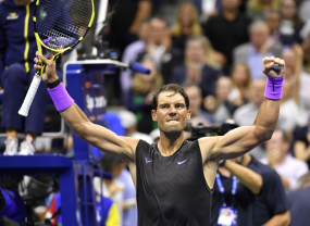 NEW YORK, NEW YORK - AUGUST 27: Rafael Nadal of Spain celebrates victory after defeating John Millman of Australia during their Men's Singles first round match on day two of the 2019 US Open at the USTA Billie Jean King National Tennis Center on August 27, 2019 in the Flushing neighborhood of the Queens borough of New York City. (Photo by Mike Stobe/Getty Images)