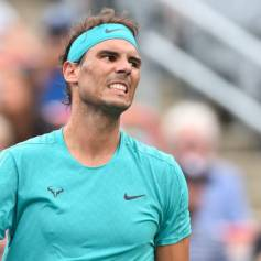 MONTREAL, QC - AUGUST 07: Rafael Nadal of Spain reacts in his match against Daniel Evans of Great Britain during day 6 of the Rogers Cup at IGA Stadium on August 7, 2019 in Montreal, Quebec, Canada. (Photo by Minas Panagiotakis/Getty Images)