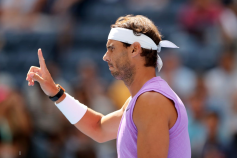 NEW YORK, NEW YORK - AUGUST 31: Rafael Nadal of Spain enters the court prior to his Men's Singles third round match against Hyeon Chung of South Korea on day six of the 2019 US Open at the USTA Billie Jean King National Tennis Center on August 31, 2019 in Queens borough of New York City. (Photo by Elsa/Getty Images)