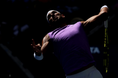 NEW YORK, NEW YORK - AUGUST 31: Rafael Nadal of Spain serves during his Men's Singles third round match against Hyeon Chung of South Korea on day six of the 2019 US Open at the USTA Billie Jean King National Tennis Center on August 31, 2019 in Queens borough of New York City. (Photo by Elsa/Getty Images)
