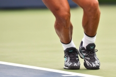 MONTREAL, QC - AUGUST 09: Shoes worn by Rafael Nadal of Spain as he serves against Fabio Fognini of Italy during day 8 of the Rogers Cup at IGA Stadium on August 9, 2019 in Montreal, Quebec, Canada. (Photo by Minas Panagiotakis/Getty Images)