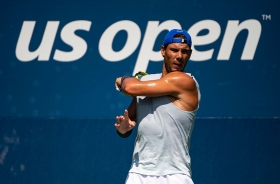 NEW YORK, NEW YORK - AUGUST 20: Rafael Nadal of Spain in action during a practice session with his coach, Carlos Moya, before the start of the US Open at the USTA Billie Jean King National Tennis Center on August 20, 2019 in New York City. (Photo by TPN/Getty Images)