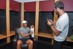 MONTREAL, CANADA - August 11: Men's singles champion Rafael Nadal of Spain in the locker room with the trophy at the Rogers Cup Tennis Tournament at IGA Stadium on August 11, 2019 in Montreal, Canada (Photo by Peter Staples/ATP Tour)