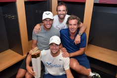 MONTREAL, CANADA - August 11: Men's singles champion Rafael Nadal (L) of Spain in the locker room with his team, physio 775387757 , coach Francisco Roig and coach Tomeu Salva at the Rogers Cup Tennis Tournament at IGA Stadium on August 11, 2019 in Montreal, Canada (Photo by Peter Staples/ATP Tour)
