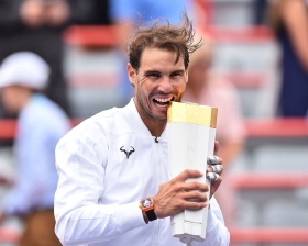 MONTREAL, QC - AUGUST 11: Rafael Nadal of Spain poses with the tournament trophy after his win against Daniil Medvedev of Russia during the mens singles final on day 10 of the Rogers Cup at IGA Stadium on August 11, 2019 in Montreal, Quebec, Canada. Rafael Nadal of Spain defeated Daniil Medvedev of Russia 6-3, 6-0. (Photo by Minas Panagiotakis/Getty Images)
