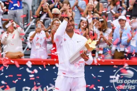 MONTREAL, QC - AUGUST 11: Rafael Nadal (ESP) holds his winner trophy under a rain of confetti after his win of the ATP Coupe Rogers final match on August 11, 2019 at IGA Stadium in Montreal, QC (Photo by David Kirouac/Icon Sportswire via Getty Images)