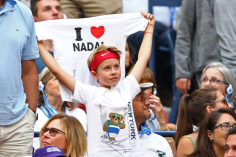 NEW YORK, NEW YORK - SEPTEMBER 08: A young fan cheers for Rafael Nadal of Spain during the Men's Singles final match against Daniil Medvedev of Russia on day fourteen of the 2019 US Open at the USTA Billie Jean King National Tennis Center on September 08, 2019 in the Queens borough of New York City. (Photo by Clive Brunskill/Getty Images)