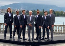 GENEVA, SWITZERLAND - SEPTEMBER 18: (L-R) Stefanos Tsitsipas, Fabio Fognini, Rafael Nadal, Bjorn Borg, Roger Federer, Dominic Thiem, and Alexander Zverev of Team Europe pose for a photo prior to the Laver Cup 2019 at Palexpo, on September 18, 2019 in Geneva, Switzerland. (The Laver Cup consists of six players from the rest of the World competing against their counterparts from Europe. John McEnroe will captain the Rest of the World team and Europe will be captained by Bjorn Borg) The event runs from 20-22 Sept. (Photo by Clive Brunskill/Getty Images for Laver Cup)