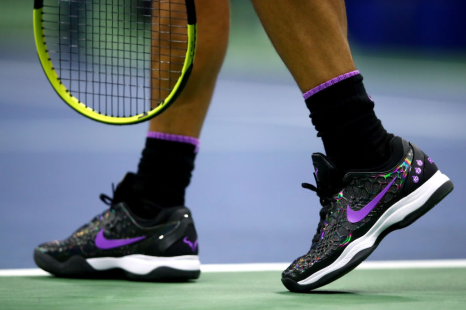 NEW YORK, NEW YORK - SEPTEMBER 06: A view of the Nike tennis shoes worn by Rafael Nadal of Spain during his Men's Singles semi-final match against Matteo Berrettini of Italy on day twelve of the 2019 US Open at the USTA Billie Jean King National Tennis Center on September 06, 2019 in the Queens borough of New York City. (Photo by Clive Brunskill/Getty Images)