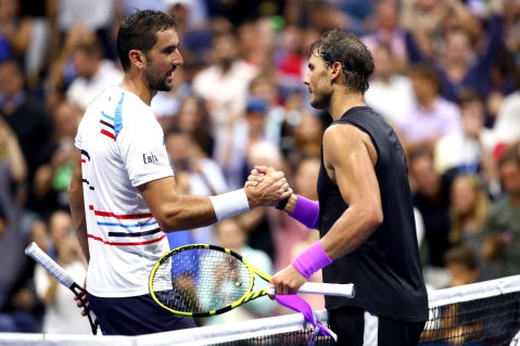 NEW YORK, NEW YORK - SEPTEMBER 02: Marin Cilic of Croatia (L) shakes hands with Rafael Nadal of Spain after losing to him int heir Men's Singles fourth round match on day eight of the 2019 US Open at the USTA Billie Jean King National Tennis Center on September 02, 2019 in Queens borough of New York City. (Photo by Clive Brunskill/Getty Images)