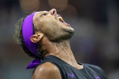 2019 US Open Tennis Tournament- Day Eight. Rafael Nadal of Spain reacts to his incredible shot that set up match point against Marin Cilic of Croatia in the Men's Singles round four match on Arthur Ashe Stadium during the 2019 US Open Tennis Tournament at the USTA Billie Jean King National Tennis Center on September 2nd, 2019 in Flushing, Queens, New York City. (Photo by Tim Clayton/Corbis via Getty Images)