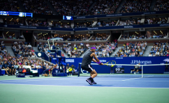 NEW YORK, NEW YORK - SEPTEMBER 02: Rafael Nadal of Spain hits a backhand against Marin Cilic of Croatia on Arthur Ashe Stadium at the USTA Billie Jean King National Tennis Center on September 02, 2019 in New York City. (Photo by TPN/Getty Images)