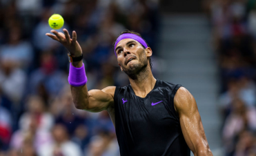 NEW YORK, NEW YORK - SEPTEMBER 02: Rafael Nadal of Spain serves against Marin Cilic of Croatia on Arthur Ashe Stadium at the USTA Billie Jean King National Tennis Center on September 02, 2019 in New York City. (Photo by TPN/Getty Images)