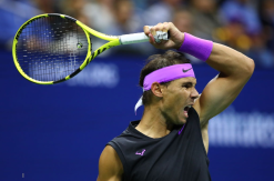 NEW YORK, NEW YORK - SEPTEMBER 06: Rafael Nadal of Spain in action during his Men's Singles semi-final match against Matteo Berrettini of Italy on day twelve of the 2019 US Open at the USTA Billie Jean King National Tennis Center on September 06, 2019 in Queens borough of New York City. (Photo by Clive Brunskill/Getty Images)