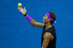 NEW YORK, NEW YORK - SEPTEMBER 06: Rafael Nadal of Spain serves a shot during his Men's Singles semi-final match against Matteo Berrettini of Italy on day twelve of the 2019 US Open at the USTA Billie Jean King National Tennis Center on September 06, 2019 in Queens borough of New York City. (Photo by Chaz Niell/Getty Images)