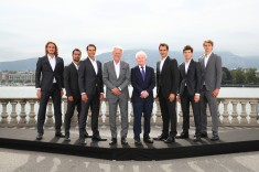 GENEVA, SWITZERLAND - SEPTEMBER 18: (L-R) Team Europe, Stefanos Tsitsipas, Fabio Fognini, Rafael Nadal, Bjorn Borg, Rod Laver, Roger Federer, Dominic Thiem, and Alexander Zverev pose for a photo prior to the Laver Cup 2019 at Palexpo, on September 18, 2019 in Geneva, Switzerland. (The Laver Cup consists of six players from the rest of the World competing against their counterparts from Europe. John McEnroe will captain the Rest of the World team and Europe will be captained by Bjorn Borg) The event runs from 20-22 Sept. (Photo by Clive Brunskill/Getty Images for Laver Cup)