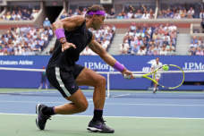 NNEW YORK, NEW YORK - SEPTEMBER 08: Rafael Nadal of Spain returns a shot during his Men's Singles final match against Daniil Medvedev of Russia on day fourteen of the 2019 US Open at the USTA Billie Jean King National Tennis Center on September 08, 2019 in the Queens borough of New York City. (Photo by Mike Stobe/Getty Images)
