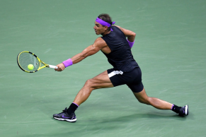 NEW YORK, NEW YORK - SEPTEMBER 08: Rafael Nadal of Spain returns a shot during his Men's Singles final match against Daniil Medvedev of Russia on day fourteen of the 2019 US Open at the USTA Billie Jean King National Tennis Center on September 08, 2019 in the Queens borough of New York City. (Photo by Emilee Chinn/Getty Images)