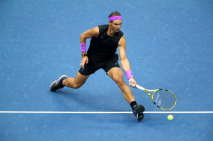 NEW YORK, NEW YORK - SEPTEMBER 08: Rafael Nadal of Spain returns a shot during the second set of his Men's Singles final match against Daniil Medvedev of Russia on day fourteen of the 2019 US Open at the USTA Billie Jean King National Tennis Center on September 08, 2019 in the Queens borough of New York City. (Photo by Clive Brunskill/Getty Images)