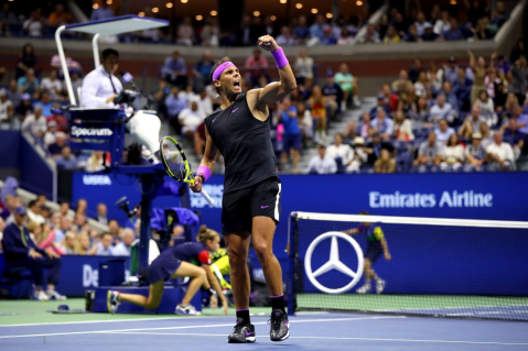 NNEW YORK, NEW YORK - SEPTEMBER 08: Rafael Nadal of Spain celebrates a point during the fifth set of his Men's Singles final match against Daniil Medvedev of Russia on day fourteen of the 2019 US Open at the USTA Billie Jean King National Tennis Center on September 08, 2019 in the Queens borough of New York City. (Photo by Mike Stobe/Getty Images)