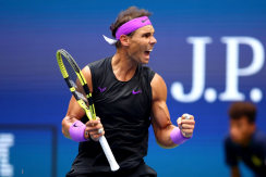 NEW YORK, NEW YORK - SEPTEMBER 08: Rafael Nadal of Spain celebrates winning the first set during his Men's Singles final match against Daniil Medvedev of Russia on day fourteen of the 2019 US Open at the USTA Billie Jean King National Tennis Center on September 08, 2019 in the Queens borough of New York City. (Photo by Clive Brunskill/Getty Images)