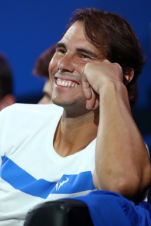 GENEVA, SWITZERLAND - SEPTEMBER 21: Rafael Nadal of Team Europe looks on during the singles match between John Isner of Team World and Alexander Zverev of Team Europe during Day Two of the Laver Cup 2019 at Palexpo on September 21, 2019 in Geneva, Switzerland. The Laver Cup will see six players from the rest of the World competing against their counterparts from Europe. Team World is captained by John McEnroe and Team Europe is captained by Bjorn Borg. The tournament runs from September 20-22. (Photo by Julian Finney/Getty Images for Laver Cup)