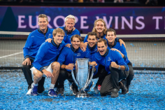 GENEVA, SWITZERLAND - SEPTEMBER 22: Roger Federer celebrates the win with his Team Europe during Day 3 of the Laver Cup 2019 at Palexpo on September 20, 2019 in Geneva, Switzerland. The Laver Cup will see six players from the rest of the World competing against their counterparts from Europe. Team World is captained by John McEnroe and Team Europe is captained by Bjorn Borg. The tournament runs from September 20-22. (Photo by RvS.Media/Robert Hradil/Getty Images)