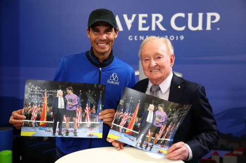 GENEVA, SWITZERLAND - SEPTEMBER 22: Rafael Nadal of Team Europe poses for a photo with Rod Laver as they hold up a photograph of themselves from the US Open during Day Three of the Laver Cup 2019 at Palexpo on September 22, 2019 in Geneva, Switzerland. The Laver Cup will see six players from the rest of the World competing against their counterparts from Europe. Team World is captained by John McEnroe and Team Europe is captained by Bjorn Borg. The tournament runs from September 20-22. (Photo by Clive Brunskill/Getty Images for Laver Cup )