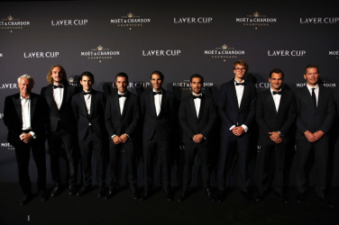 GENEVA, SWITZERLAND - SEPTEMBER 19: (L-R) Bjorn Borg, Captain of Team Europe, Stefanos Tsitsipas, Dominic Thiem, Roberto Bautista Agut, Rafael Nadal, Fabio Fognini, Alexander Zverev and Roger Federer of Team Europe and Thomas Enqvist, Vice Captain of Team Europe pose for a photo on the black carpet as they arrive at HEAD Geneve for the Laver Cup Gala ahead of the Laver Cup 2019 at Palexpo on September 19, 2019 in Geneva, Switzerland. The Laver Cup will see six players from the rest of the World competing against their counterparts from Europe. Team World is captained by John McEnroe and Team Europe is captained by Bjorn Borg. The tournament runs from September 20-22. (Photo by Clive Brunskill/Getty Images for Laver Cup)