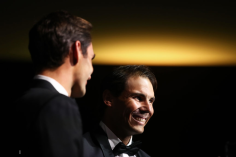GENEVA, SWITZERLAND - SEPTEMBER 19: Rafael Nadal of Team Europe reacts as he arrives at HEAD Geneve for the Laver Cup Gala ahead of the Laver Cup 2019 at Palexpo on September 19, 2019 in Geneva, Switzerland. The Laver Cup will see six players from the rest of the World competing against their counterparts from Europe. Team World is captained by John McEnroe and Team Europe is captained by Bjorn Borg. The tournament runs from September 20-22. (Photo by Julian Finney/Getty Images for Laver Cup)
