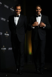 GENEVA, SWITZERLAND - SEPTEMBER 19: Roger Federer and Rafael Nadal of Team Europe arrive at HEAD Geneve for the Laver Cup Gala ahead of the Laver Cup 2019 at Palexpo on September 19, 2019 in Geneva, Switzerland. The Laver Cup will see six players from the rest of the World competing against their counterparts from Europe. Team World is captained by John McEnroe and Team Europe is captained by Bjorn Borg. The tournament runs from September 20-22. (Photo by Julian Finney/Getty Images for Laver Cup)