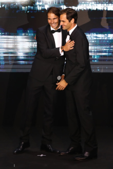 GENEVA, SWITZERLAND - SEPTEMBER 19: Rafael Nadal of Team Europe embraces teammate Roger Federer after introducing him onto the stage during the Laver Cup Gala at HEAD Geneve ahead of the Laver Cup 2019 at Palexpo on September 19, 2019 in Geneva, Switzerland. The Laver Cup will see six players from the rest of the World competing against their counterparts from Europe. Team World is captained by John McEnroe and Team Europe is captained by Bjorn Borg. The tournament runs from September 20-22. (Photo by Julian Finney/Getty Images for Laver Cup)