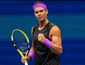 Rafael Nadal of Spain reacts to a point while playing Diego Schwartzman of Argentina during their Quarter-finals Men's Singles match at the 2019 US Open at the USTA Billie Jean King National Tennis Center in New York on September 4, 2019. (Photo by Don Emmert / AFP) (Photo credit should read DON EMMERT/AFP/Getty Images)