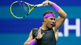 September 4, 2019 - Rafael Nadal in action against Diego Schwartzman in a quarterfinal match at the 2019 US Open. (Photo by Darren Carroll/USTA)