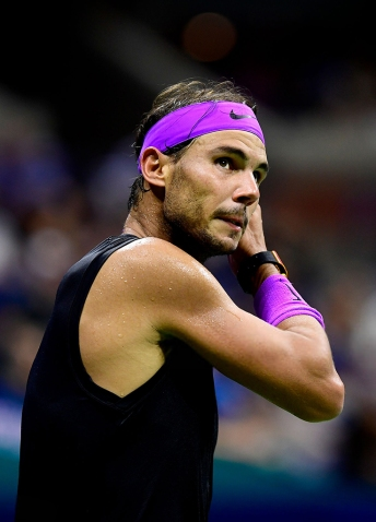 NEW YORK, NEW YORK - SEPTEMBER 02: Rafael Nadal of Spain looks on during his Men's Singles fourth round match against Marin Cilic of Croatia on day eight of the 2019 US Open at the USTA Billie Jean King National Tennis Center on September 02, 2019 in Queens borough of New York City. (Photo by Steven Ryan/Getty Images)