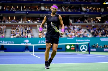 NEW YORK, NEW YORK - SEPTEMBER 02: Rafael Nadal of Spain reacts during his Men's Singles fourth round match against Marin Cilic of Croatia on day eight of the 2019 US Open at the USTA Billie Jean King National Tennis Center on September 02, 2019 in Queens borough of New York City. (Photo by Steven Ryan/Getty Images)