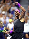 NEW YORK, NEW YORK - SEPTEMBER 02: Rafael Nadal of Spain celebrates after winning his Men's Singles fourth round match against Marin Cilic of Croatia on day eight of the 2019 US Open at the USTA Billie Jean King National Tennis Center on September 02, 2019 in Queens borough of New York City. (Photo by Clive Brunskill/Getty Images)