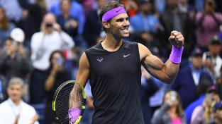 September 6, 2019 - Rafael Nadal reacts to winning his semifinal match against Matteo Berrettini at the 2019 US Open. (Photo by Garrett Ellwood/USTA)
