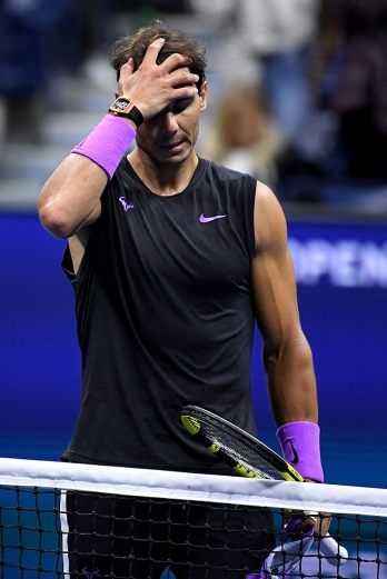 NEW YORK, NEW YORK - SEPTEMBER 06: Rafael Nadal of Spain celebrates after winning his Men's Singles semi-final match against Matteo Berrettini of Italy on day twelve of the 2019 US Open at the USTA Billie Jean King National Tennis Center on September 06, 2019 in the Queens borough of New York City. (Photo by Emilee Chinn/Getty Images)