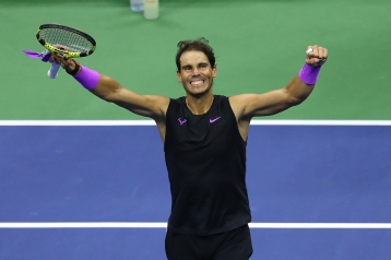NEW YORK, NEW YORK - SEPTEMBER 06: Rafael Nadal of Spain celebrates after winning his Men's Singles semi-final match against Matteo Berrettini of Italy on day twelve of the 2019 US Open at the USTA Billie Jean King National Tennis Center on September 06, 2019 in the Queens borough of New York City. (Photo by Mike Stobe/Getty Images)