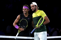 NEW YORK, NEW YORK - SEPTEMBER 06: (L-R) Rafael Nadal of Spain poses with Matteo Berrettini of Italy prior to their Men's Singles semi-final match on day twelve of the 2019 US Open at the USTA Billie Jean King National Tennis Center on September 06, 2019 in the Queens borough of New York City. (Photo by Matthew Stockman/Getty Images)