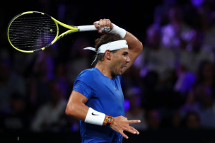 GENEVA, SWITZERLAND - SEPTEMBER 21: Rafael Nadal of Team Europe plays a forehand in his singles match against Milos Raonic of Team World during Day Two of the Laver Cup 2019 at Palexpo on September 21, 2019 in Geneva, Switzerland. The Laver Cup will see six players from the rest of the World competing against their counterparts from Europe. Team World is captained by John McEnroe and Team Europe is captained by Bjorn Borg. The tournament runs from September 20-22. (Photo by Julian Finney/Getty Images for Laver Cup)