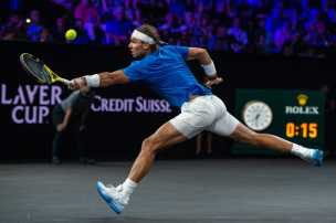 GENEVA, SWITZERLAND - SEPTEMBER 21: Rafael Nadal of Team Europe plays a backhand during Day 2 of the Laver Cup 2019 at Palexpo on September 21, 2019 in Geneva, Switzerland. The Laver Cup will see six players from the rest of the World competing against their counterparts from Europe. Team World is captained by John McEnroe and Team Europe is captained by Bjorn Borg. The tournament runs from September 20-22. (Photo by RvS.Media/Monika Majer/Getty Images)