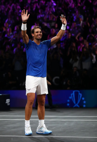 GENEVA, SWITZERLAND - SEPTEMBER 21: Rafael Nadal of Team Europe celebrates victory after his singles match against Milos Raonic of Team World during Day Two of the Laver Cup 2019 at Palexpo on September 21, 2019 in Geneva, Switzerland. The Laver Cup will see six players from the rest of the World competing against their counterparts from Europe. Team World is captained by John McEnroe and Team Europe is captained by Bjorn Borg. The tournament runs from September 20-22. (Photo by Julian Finney/Getty Images for Laver Cup)