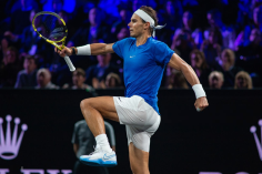 GENEVA, SWITZERLAND - SEPTEMBER 21: Rafael Nadal of Team Europe reacts after a point during Day 2 of the Laver Cup 2019 at Palexpo on September 21, 2019 in Geneva, Switzerland. The Laver Cup will see six players from the rest of the World competing against their counterparts from Europe. Team World is captained by John McEnroe and Team Europe is captained by Bjorn Borg. The tournament runs from September 20-22. (Photo by RvS.Media/Monika Majer/Getty Images)