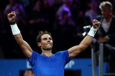 GENEVA, SWITZERLAND - SEPTEMBER 21: Rafael Nadal of Team Europe celebrates victory after his singles match against Milos Raonic of Team World during Day Two of the Laver Cup 2019 at Palexpo on September 21, 2019 in Geneva, Switzerland. The Laver Cup will see six players from the rest of the World competing against their counterparts from Europe. Team World is captained by John McEnroe and Team Europe is captained by Bjorn Borg. The tournament runs from September 20-22. (Photo by Clive Brunskill/Getty Images for Laver Cup)
