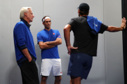 GENEVA, SWITZERLAND - SEPTEMBER 22: Roger Federer of Team Europe speaks with teammates Bjorn Borg and Rafael Nadal prior to his singles match against John Isner of Team World during Day Three of the Laver Cup 2019 at Palexpo on September 22, 2019 in Geneva, Switzerland. The Laver Cup will see six players from the rest of the World competing against their counterparts from Europe. Team World is captained by John McEnroe and Team Europe is captained by Bjorn Borg. The tournament runs from September 20-22. (Photo by Clive Brunskill/Getty Images for Laver Cup )