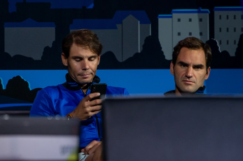 GENEVA, SWITZERLAND - SEPTEMBER 20: Rafael Nadal and Roger Federer of Team Europe looks on during Day 1 of the Laver Cup 2019 at Palexpo on September 20, 2019 in Geneva, Switzerland. The Laver Cup will see six players from the rest of the World competing against their counterparts from Europe. Team World is captained by John McEnroe and Team Europe is captained by Bjorn Borg. The tournament runs from September 20-22. (Photo by RvS.Media/Robert Hradil/Getty Images)